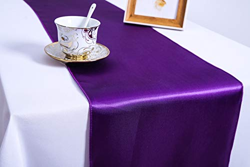 Pack of 10 Wedding 12 x 108 inch Satin Table Runners fit Rectange and Round Table Decorations for Birthday Parties, Banquets, Graduations, Engagements (10, Cadbury Purple) -