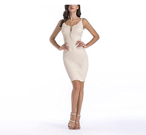 Woman Dress Strapless SYGoodBUY 123 Knit Apricot up Neck V Bodycon Dress Bodycon Lace Short HF5Bgw6q