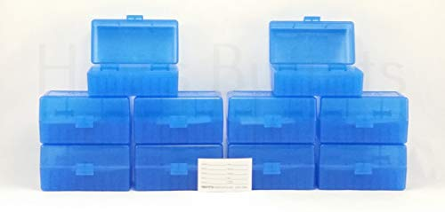 BERRY'S Plastic Ammo Box, Blue 50 Round 223/5.56 (10)