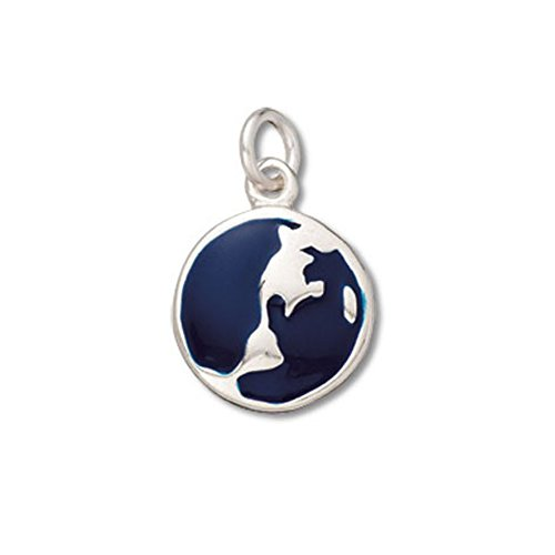 Sterling Silver Two Sided Flat Enamel Globe (or World) Charm Item #38584