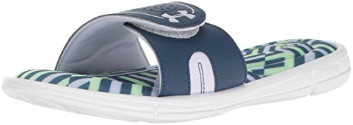 Under Armour Women's Ignite Maze VIII Slide, White (100)/Blackout Navy, 9