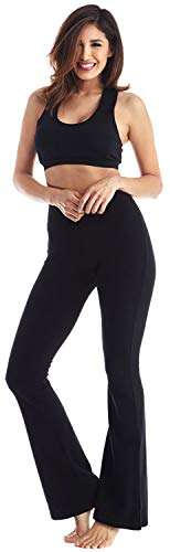 (Viosi Women's Premium 250gsm Fold Over Cotton Spandex Lounge Yoga Pants [Black/Black, Small])
