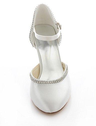 GGX/Damen-Schuhe Stretch Satin Stiletto Heel Heels/Schuhe Heels Hochzeit/Party & Abend/Kleid pink/elfenbeinfarben 3in-3 3/4in-ivory