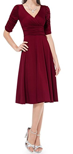 TINYHI 3/4 Sleeve Ruched Waist Elegant V-neck Casual Party Dress – Small, Brick Red