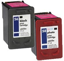 Lovetoner Compatible HP C6656A / C6658A (56 / 58) INK / INKJET Cartridge Combo Pack Black Photo (Cartridge Inkjet 56 Black C6656a)
