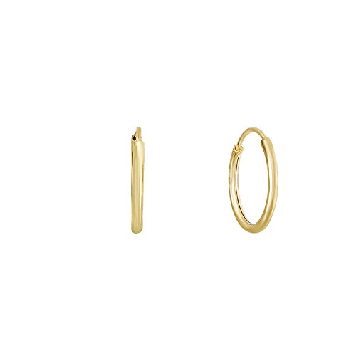 14k Yellow Gold Round Endless Hoop Earrings - 10-18mm (10 Millimeters) ()