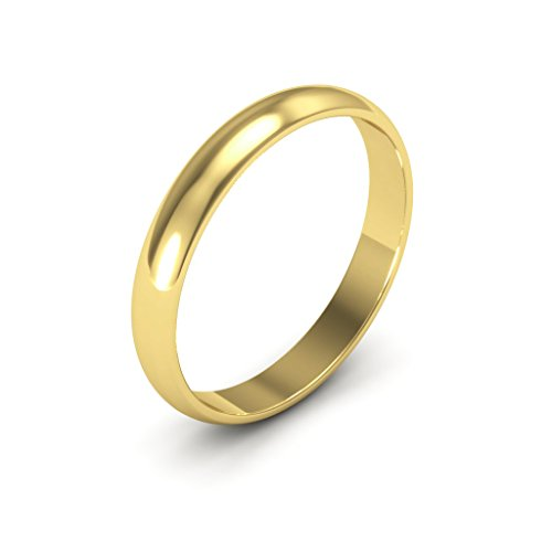 14K Yellow Gold men's and women's plain wedding bands 3mm light half round, 7.25
