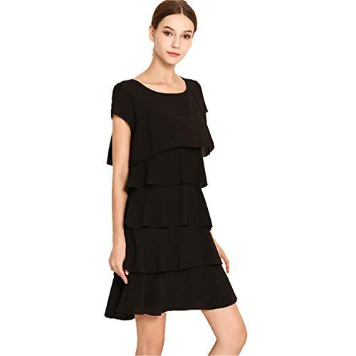 Crissiste Dresses Women Plus Size 5XL Elegant Ladies Party Cocktail Ruffles Dress Black XL