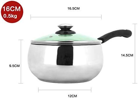 Bac à lait antiadhésif en acier inoxydable, 14-18 cm, à une poignée, casserole à soupe, outil de cuisson au fond, mini-marmite, convient à tous les poêles-18CM