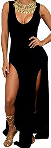 Black Dresses Cheap Prices - Mosearon Women Fit Slim Sexy Deep U Neck Sleeveless Side Slit Casual Bandage Club Beach Maxi Dress (One Size, Black)