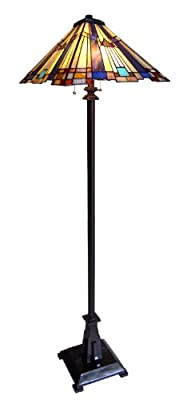 Chloe Lighting CH23004A-FL2 Tiffany-Style Mission 2-Light Floor Lamp with 16-Inch Shade