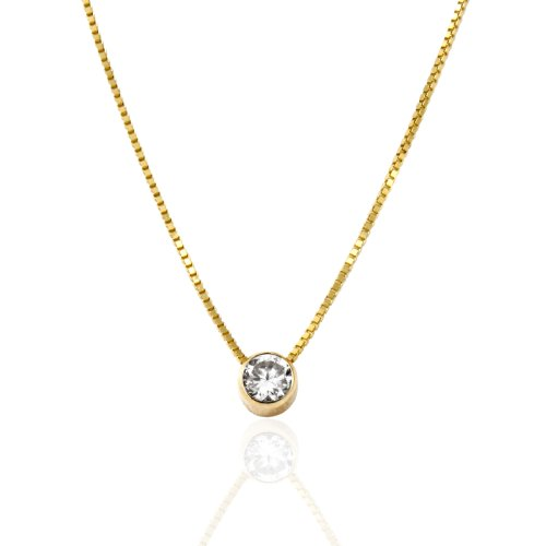 14K Yellow Gold Bezel Set 0.25 Carat Round Cubic Zirconia (CZ) Necklace (18 Inches, Box Chain)