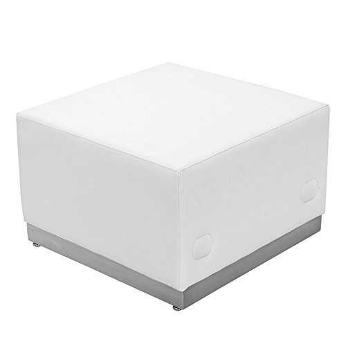 Hercules Alon Series Melrose White Leather Ottoman with Brushed Stainless Steel Base 25.5