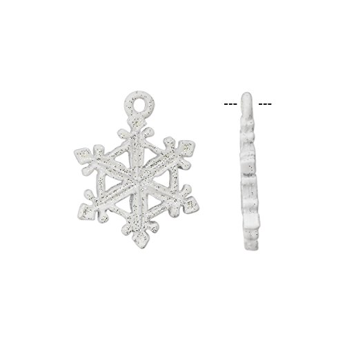Charm pewter (tin-based alloy) with white epoxy and glitter 20x15mm snowflake-H20-8407FY (Enameled Snowflake Charm)
