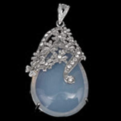 Antiqued Silver Floral Blue Sea Opal Teardrop Cabochon 43mm Focal Pendant ID-1939