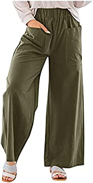 iOPQO Womens Wide Leg Palazzo Lounge Pants Casual Loose Solid Color Pants Lounge Trousers with Pockets