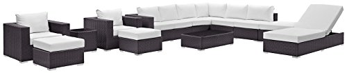 Modway Convene Collection EEI-2165-EXP-WHI-SET 12-Piece Outdoor Patio Sectional Set with Chaise Lounge Coffee Table Side Table Square Ottoman 2 Armchairs 2 Armless Sections 2 Ottomans