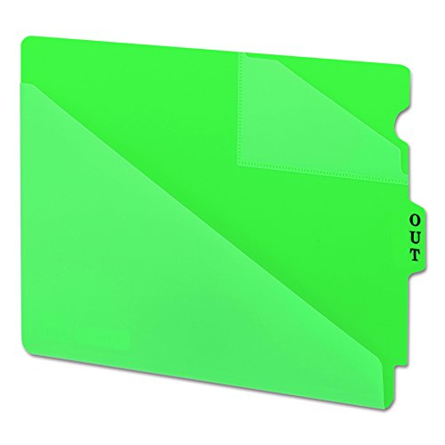 Smead 61962 Out Guides w/Diagonal-Cut Pockets, Poly, Letter, Green (Box of (Out Guides Two Diagonal Cut)