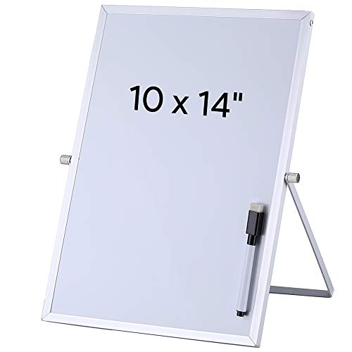 (Aelfox Desktop Small White Board, Magnetic Dry Erase Board with Stand Double-Sided Planner Reminder Board with Dry Erase Maker for Office, Home, School(10 x 14 inch/ 25 x 35 cm))