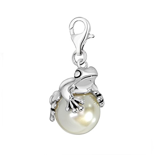 Quiges 925 Sterling Silver Imitation Pearl 3D Frog Lobster Clasp Charm (Sterling Silver 3d Frog)