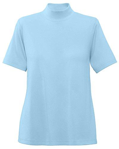 UltraSofts Cotton-Polyester Mock Top, Light Blue, X-Large (Short Sleeve Mock Turtleneck Shirts)