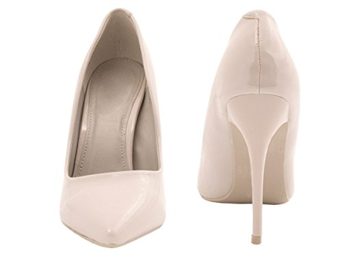 Elara Spitze Damen Pumps | Bequeme Lack Stilettos | Elegante High Heels Grau Pearl