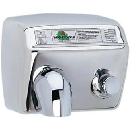 World Dryer DA5 972 Push Button Hand Dryer Polished Stainless Steel 115V