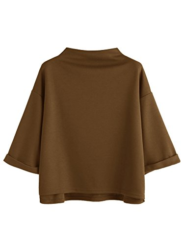 (SweatyRocks Women's 3/4 Sleeve Mock Neck Basic Loose T-Shirt Elegant Blouse Top (X-Large, Khaki))