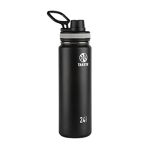 Takeya Originals Vacuum-Insulated Stainless-Steel Water Bottle, 24oz, Black