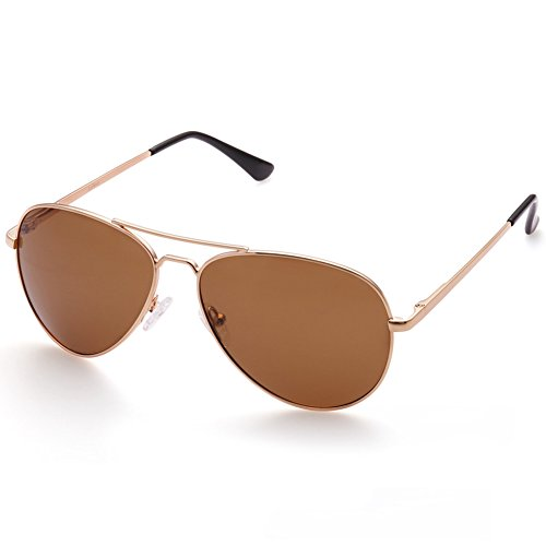 LotFancy Sunglasses for Women (Polarized Gold Frame Brown Lens, - Sunglasses Pink Aviator Polarized