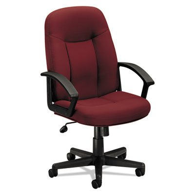 basyx VL601 Series Executive Mid-Back Swivel/Tilt Chair, Burgundy Fabric/Black Frame (Fabric Burgundy Tilt Chair)