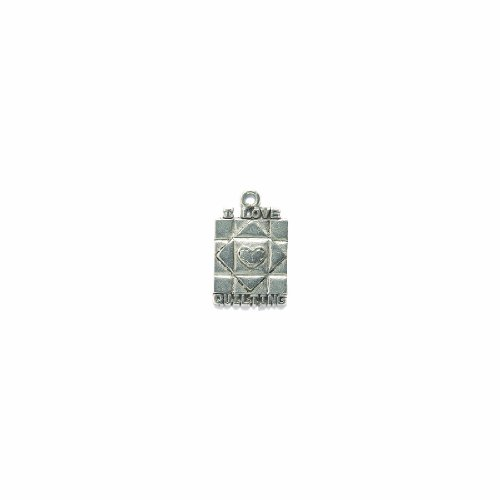 Shipwreck Beads Pewter I Love Quilting Charm, Silver, 15 by 24mm, 2-Piece