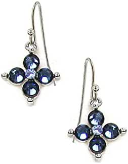 Silver-Tone Dark and Light Blue Crystal Flower Earrings