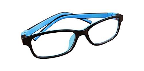 De Ding Kinder Silikon Optische Kurzsichtige Brillen Rahmen Mehrfarbig BlackBlue