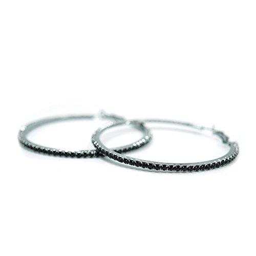 - Teri's Boutique Black Crystal Rhinestone Gunmetal Classic Round Hoop Woamn Fashion Jewelry Earring (2.5inch)