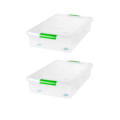 (IRIS 40 Quart Underbed Store and Slide Storage Box- Green Handle, Clear Set of 2)