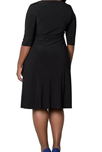 Black Solid Mid Sleeve Women Neck Dress Draped Elegant Size Comfy V Mid Plus Coolred BwOxqFq