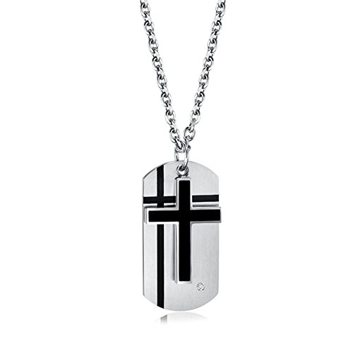 - LiFashion LF Mens Boys Stainless Steel Personalized Name Date Quote Custom Christ Cross Dog Tag Necklace 2 Tone Christian Pendant Jewelry for Husband Dad Son Boyfriend Gift,Free Engraving Customised