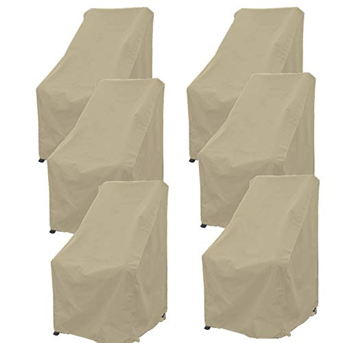 "Premium Tight Weave Patio Hi Back Chair Covers set of 6 with securing device up to 42"" H in Taupe"