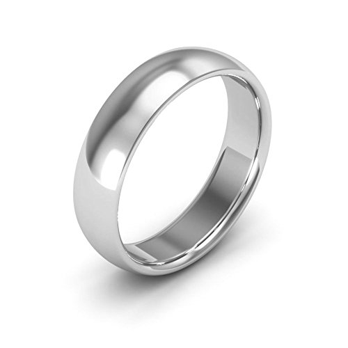 Ring Wedding 5mm Band Plain (14K White Gold men's and women's plain wedding bands 5mm comfort-fit, 8)