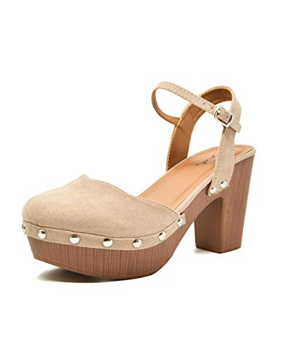 (Qupid Women's Farris-11 Faux Suede Studded Clog Heeled Sandals (7.5, Taupe))