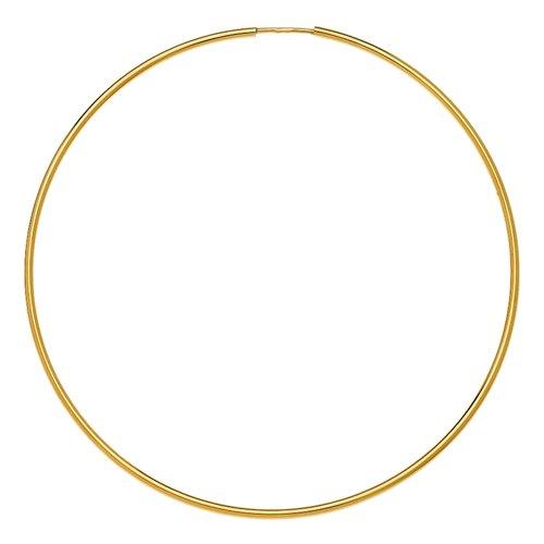 So Chic Bijoux © Boucles d'Oreilles Créoles Flexible Fil Rond 1 mm Diamètre Extérieur 70 mm Or Jaune 750/000 (18 carats)