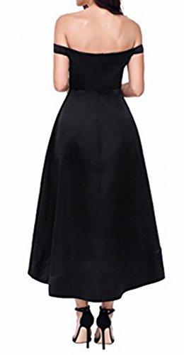 Bltr-femmes Bustier Haut Bas Robe Maxi Cocktail À Manches Courtes Noir