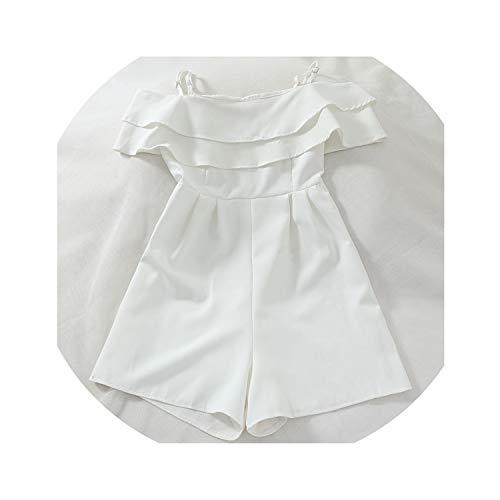 Fragrancety Summer Slash Neck Modis Jumpsuit Ruffles Sleeveless Fashion Women Bodysuit Casual Zipper Placket,White,One - Baby Dress Lulu Boutique