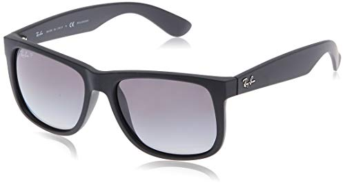 Ray-Ban RB4165 Justin Rectangular Sunglasses, Black Rubber/Polarized Grey Gradient, 55 mm (Rey Ban Brille)