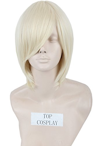 Unisex Short Length Cosplay Wig Straight Fiber Hair Blonde Halloween Costume Wig -