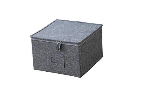 """Medium Grey Twill Box With Zipper Lid; Soft Cloth Liner - 11"""" X 11"""" X 7"""" Tall"""