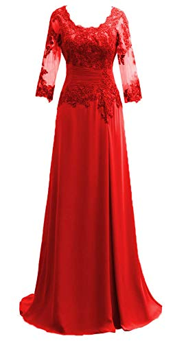 Miao Duo Women's Long Lace 3/4 Sleeves Evening Formal Celebrity Dress Maxi Wedding Celebrity Mother of Bride Dress Red 10