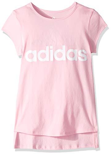 (adidas Girl Big Short Sleeve Graphic Tee T-Shirt, Light Pink, L (12/14))