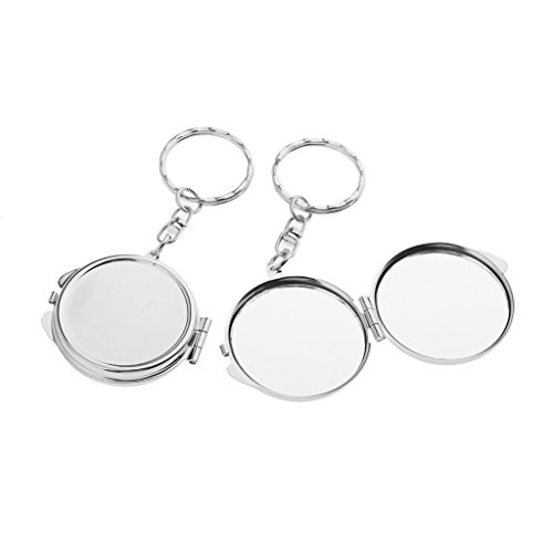 Dovewill 2pcs Travel Portable Pocket Compact Makeup Mirror Cosmetic Great Gift Keychain - Silver, 1